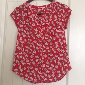 Tops - Pink and Red Floral Stitch Fix Blouse Size Xs